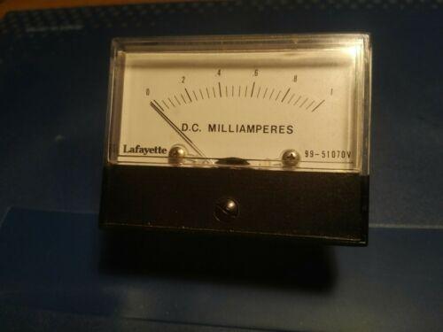 Vintage Lafayette Panel Meter 99-51070v 0-1 dc milliampers