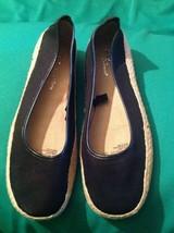 New Aerosoles Stitch N Turn Black Canvas Espadrille Flats Slipons Women's 8M - $20.19