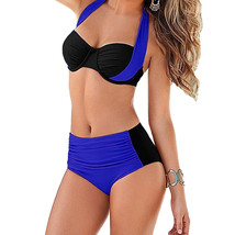 Sexy Women Bikini Set Contrast Color Block  Swimwear Swimsuit - $19.70