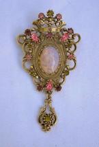 "Vintage ""Contessa"" brooch Sarah Cov large ornate Victorian rev art glass... - $27.71"