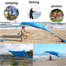 Sun Shade Shelter Beach Sunshade And Gazebo Tent - 210 X 210 - With Sand... - $217.14 CAD