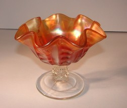 "Vintage 4-1/2"" Marigold Carnival Glass Footed Bowl Candy Nut Dish  - $11.87"