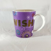 Starbucks Wish Holiday Mug Purple Joy to the World Snowflakes Metallic 2006 - $12.86
