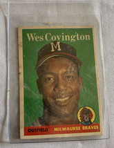 Topps 1958 Wes Covington Outfield Milwaukee Braves #140 Baseball Card Un... - $4.99