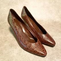 Nine West Womens Clarissa 2 Sz 9.5 Brown Closed Toe Pumps Faux Crocs Det... - $27.99