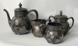 Antique Victorian Pairpoint Silverplate Tea Set... - $122.76