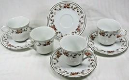 (4) Vintage Sheffield Anniversary Pattern Fine China Tea Cup & Saucer Japan EUC - $28.95