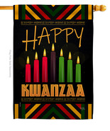 Kwanzaa Greeting - Impressions Decorative House Flag H114234-BO - $36.97