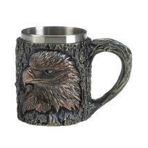 Patriot Eagle Mug Textured Tree Background w/ Stainless Steel Inner Liner - £23.11 GBP