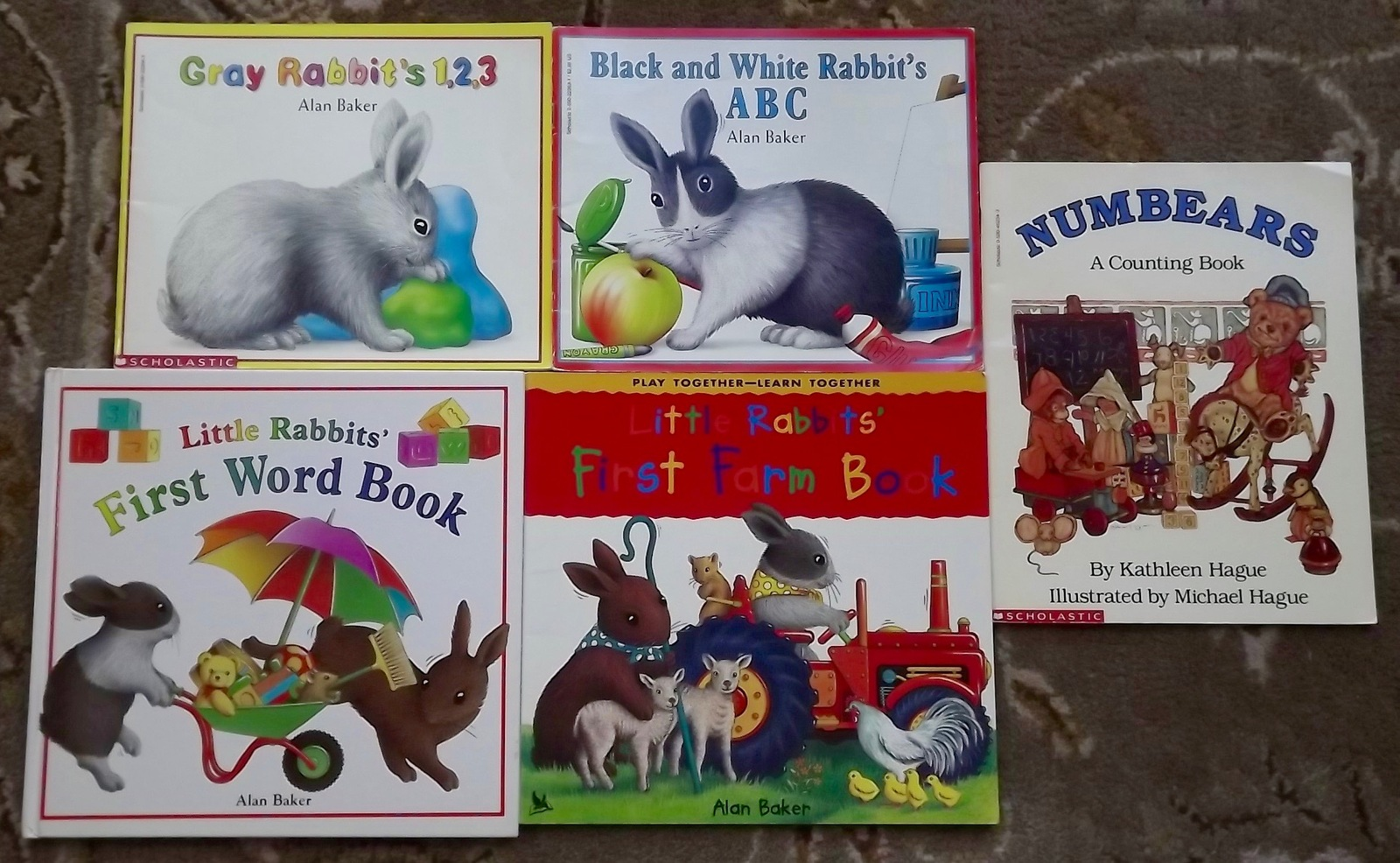 Primary image for 4 Alan Baker books Black and White Rabbit's ABC, Gray Rabbit's 1 2 3, + Numbears