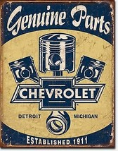 Chevrolet Genuine Parts Chevy Garage Metal Sign Tin New Vintage Style USA #1722 - $10.29