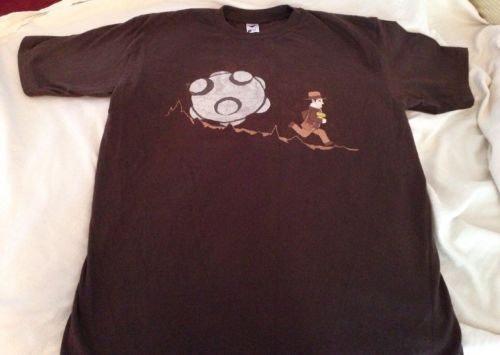 Primary image for NEW Indiana Jones Parody Graphic Short Sleeve T-shirt Men's Size Large Brown