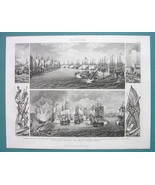 NAVY WARFARE Battle of Cesme Tschesme Bay Turkey - 1870s Superb Print - $33.66