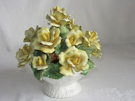"Vtg Porcelain Flower Basket Figurine Yellow Rose Italy 9"" Capodimonte Style - $128.69"