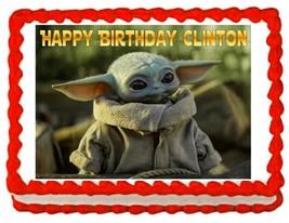 Baby Yoda Grogu party edible cake image cake topper frosting sheet - $7.84