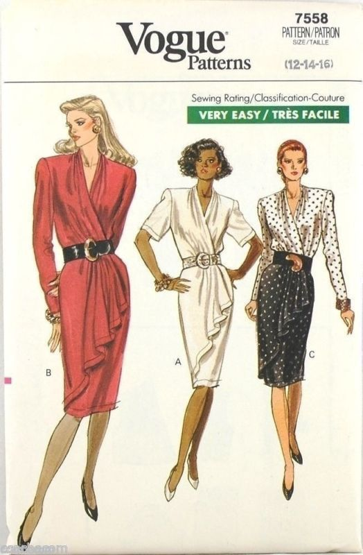 Primary image for Vogue Very Easy Pattern 7558 Misses Mock-Wrap Fitted Dress 12-14-16 Uncut 1989