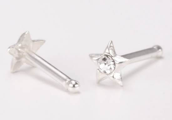 Star CZ Solid .925 Sterling Silver Star Nose Bone Nose Stud  26 G 6.5 MM Length