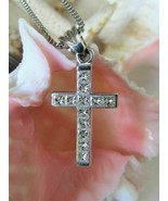 18K White Gold Diamond Cross Pendant~12 Square Cut Diamonds~Certificate ... - $2,299.99