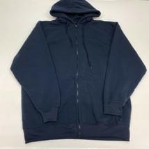 Linea Uomo Hoodie Mens 2XL XXL Navy Full Zip Drawstring Tie Insulated Po... - $18.95