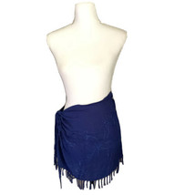 Fringed Skirt Beach Cover Up Wrap Blue Embroidered Sequin Sarong Pareo - $5.93