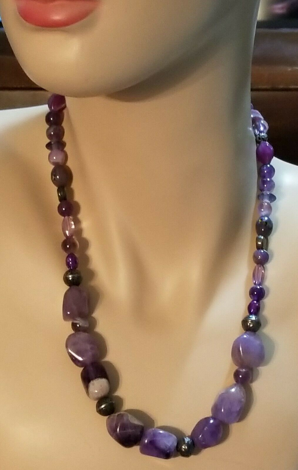 Primary image for Precious Stone Necklace in Purple Amethyst Assorted Shapes
