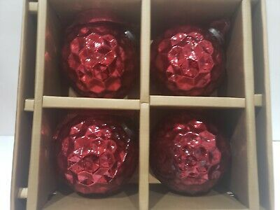 Primary image for NEW Cynthia Rowley Christmas Burgundy Red JUMBO Christmas Glass Tree Ornaments