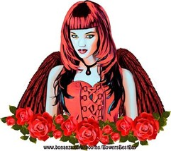 Gothic Red Angel Girl Roses printable art clipart png digital download p... - $3.99
