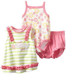Baby Togs Baby Girls Floral 3 Piece Short Set