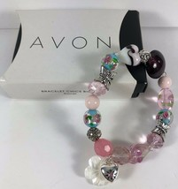 New AVON 2010 Beaded Floral Mop Arts Glass Silver Butterfly Stretch Brac... - $9.89