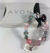 New AVON 2010 Beaded Floral Mop Arts Glass Silver Butterfly Stretch Bracelet - $9.89