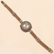 Real Ruby Rose Gold Polish Wrist Watch 925 Sterling Silver Valentine Jew... - $48.48