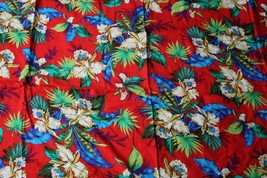 4+ yd Rothtec Marcus Brothers Red Floral Palm Hawaiian Tropical Fabric 5... - $24.23