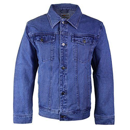 Wacky Jeans Men's Classic Premium Cotton Button Up Denim Jean Jacket Blue (4XL (