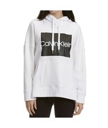 Calvin Klein Performance Logo Fleece Lined Boxy Hoodie, White, M - $37.80