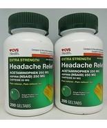 2 CVS Extra Strength headache Relief 250mg Caffeine 65mg 200 geltabs Ea ... - $19.79