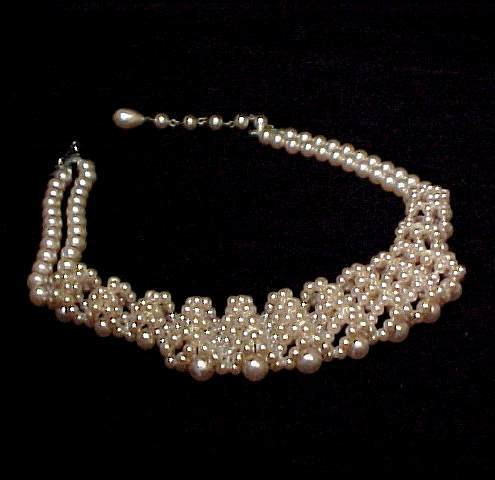 Art Deco Pearl Choker Necklace Pale Pink Unique Vintage
