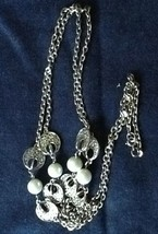 """VINTAGE FAUX PEARLS AND SILVER TONE DISKS FLAPPER LENGTH 34"""" NECKLACE DO... - $17.09"""