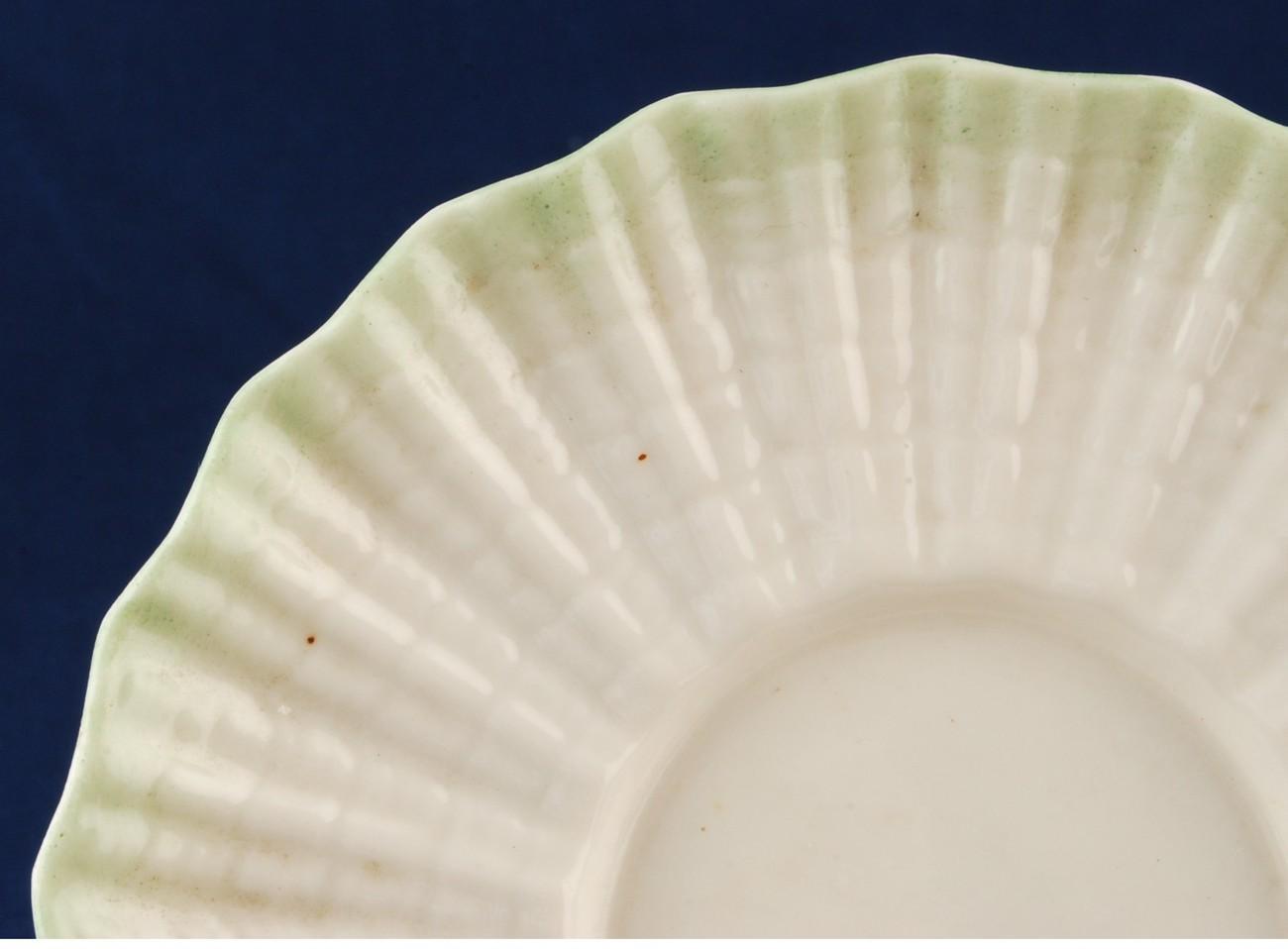 Belleek Neptune Green Shell Saucer 1891 - 1926 Black Mark