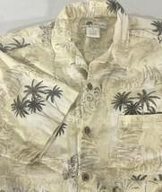 Men's Short Sleeve Casual Shirt Size M Aloha Beige Green Palm Trees Joe ... - $10.88