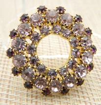 Gold Tone Purple Circle Wreath Gold Tone Pin Brooch Vintage - $19.80