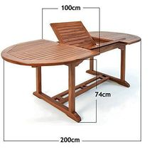 Patio Wooden Dining Set 6 Seater Oval Table Chairs Garden Conservatory Furniture image 6