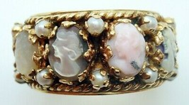 Large 14k Yellow Gold Wide Eternity Band Cameo Ring (#J2465) - $1,625.00