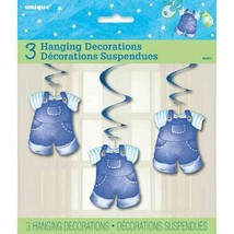 Blue Clothesline Boy 3 Ct Baby Shower Hanging Decorations - $3.19