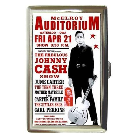 JOHNNY CASH COUNTRY SINGER CIGARETTE CARD CASE NEW!