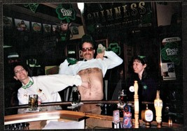 Vintage Photograph Man Lifting Shirt at Bar - Woman Grabbing Man's Stomach - $7.92