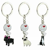 Zinc Alloy Silver Metal I Love Dog Series Design Keychain Trendy Style A... - $8.98