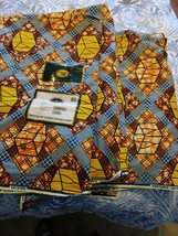 Vlisco Holland Guaranteed Real Dutch Wax Block Print Fabric 6 yds 100% c... - $32.45