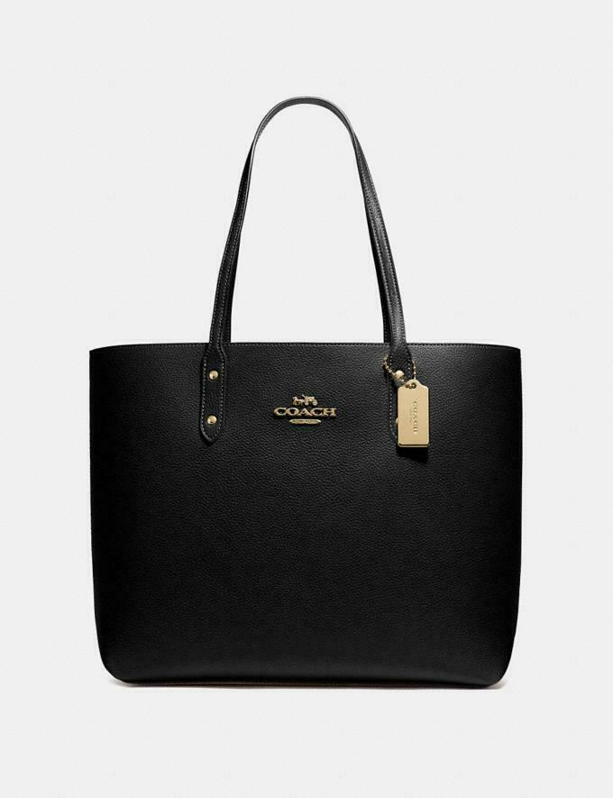 New! Coach Town Tote Black Polished Pebble Leather w/ Gold Hardware F72673