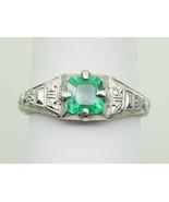 0.55ct Natural Emerald Platinum Filigree Ring Size 6.25 - $995.00