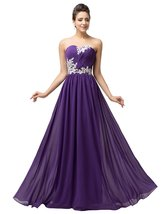 2018 Strapless Evening Dress Appliques Purple Chiffon Long Prom Dress Pa... - $114.00